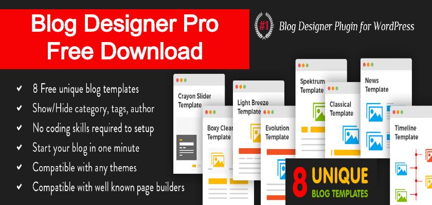 blog designer pro free download