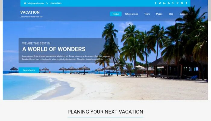 vacation lite theme free download
